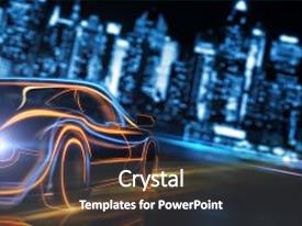 Beautiful presentation featuring creative glowing digital car on blurry night city background transport and vehicle concept 3d rendering backdrop and a dark gray colored foreground.