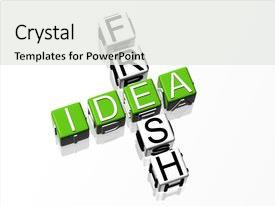 Beautiful PPT theme featuring creative idea crossword text backdrop and a white colored foreground.