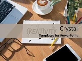 PPT theme featuring creativity creative and design thinking background and a light gray colored foreground.