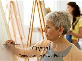 Colorful presentation theme enhanced with drawing on easel at art backdrop and a coral colored foreground.