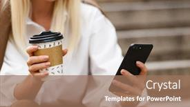PPT theme consisting of cropped image of young woman wearing white shirt using cellphone and drinking coffee takeaway while sitting on stairs outdoors background and a coral colored foreground