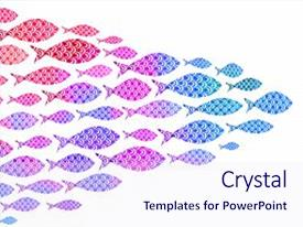 Colorful presentation design enhanced with crowd of watercolor ocean fish backdrop and a sky blue colored foreground.