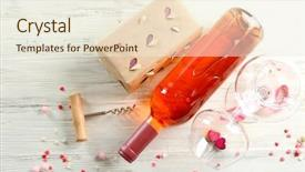 Slides enhanced with crystal gifts - love concept - wine bottle background and a cream colored foreground