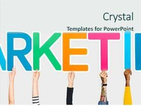 Presentation design with csr - hands holding up colorful letters background and a sky blue colored foreground