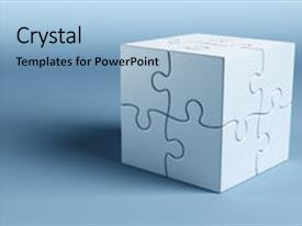 50 3d rendering of a cube made of puzzle pieces powerpoint