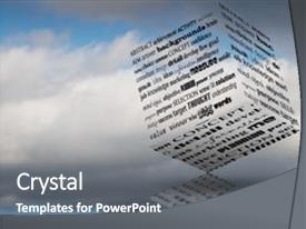 Theme with marketing plan - cube with business slogans background and a gray colored foreground.
