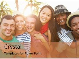 Audience pleasing slide deck consisting of culture - group of friends having fun backdrop and a coral colored foreground