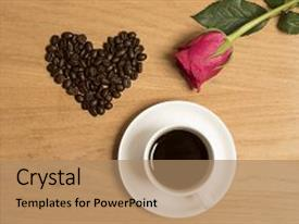 Theme enhanced with cup and saucer full of black coffee with coffee beans in the shape of a heart background and a coral colored foreground.