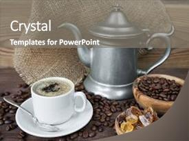 PPT theme enhanced with cup of coffee coffee pot background and a gray colored foreground.