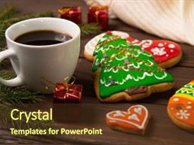 Presentation design having biscuit - cup of coffee in christmas background and a tawny brown colored foreground.