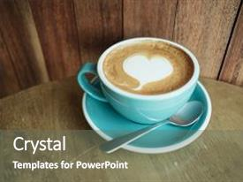 Beautiful slides featuring cup with coffee has a heart shape on top placed on wooden table and wooden wall are background image for coffee art beverage drink food art concept backdrop and a gray colored foreground.