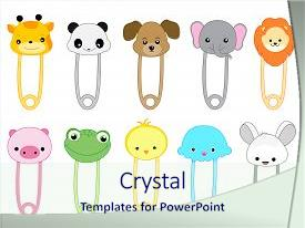 Cool new PPT theme with cute animal safety pin collection backdrop and a sky blue colored foreground.