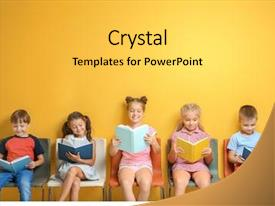PPT theme consisting of cute little children reading books background and a yellow colored foreground