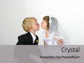 Presentation theme featuring cute toddler boy and girl background and a light gray colored foreground.