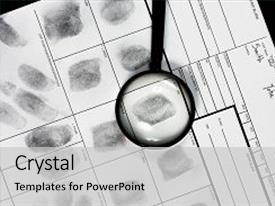 PPT theme with dactyloscopy - fingerprint on police fingerprint card background and a light gray colored foreground.