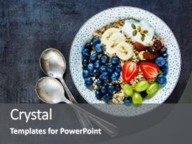 PPT theme featuring dark vintage background - healthy food background and a dark gray colored foreground.