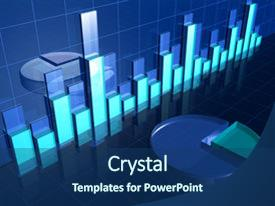 PPT theme having data analysis - abstract transparent financial chart background and a ocean colored foreground.