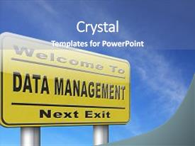 Cool new slide deck with data management storage analysis backdrop and a teal colored foreground