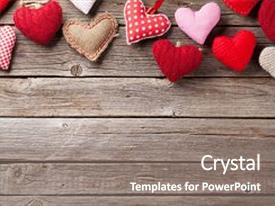 PPT theme with day greeting card handmaded heart background and a gray colored foreground.