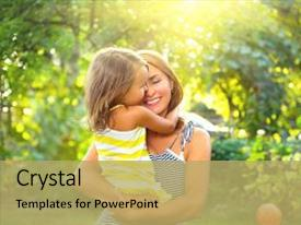 Beautiful PPT theme featuring mother nature - day joy mom and baby backdrop and a yellow colored foreground.