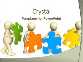 Colorful PPT theme enhanced with decision making - four puppets holding backdrop and a cream colored foreground.