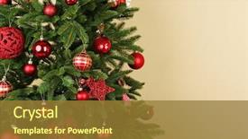Beautiful PPT theme featuring decorated christmas tree closeup backdrop and a gold colored foreground
