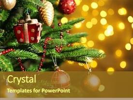 Presentation having decorated christmas tree on blurred background and a tawny brown colored foreground
