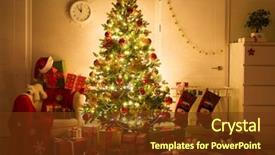 Theme featuring decorated home interior with christmas background and a tawny brown colored foreground