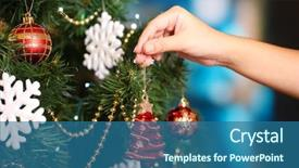 Beautiful PPT theme featuring decorating christmas tree on bright backdrop and a ocean colored foreground