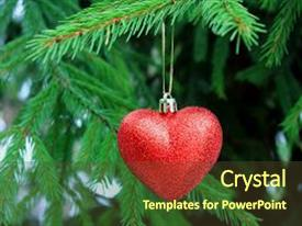 Amazing slides having decoration on the christmas tree red heart hanging on a christmas tree christmas tree the spirit of christmas christmas traditions winter mood and love heart on the snow backdrop and a tawny brown colored foreground.