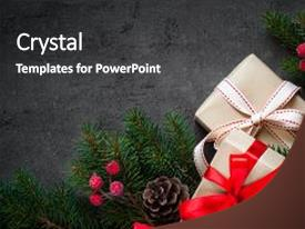 Beautiful slide deck featuring christmas - decorations on dark slate background backdrop and a dark gray colored foreground.