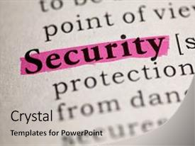 PPT theme having definition of the word security background and a light gray colored foreground