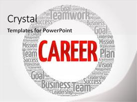 Beautiful presentation theme featuring definition recruitment - career circle word cloud business backdrop and a light gray colored foreground