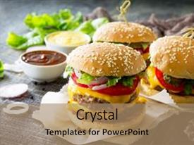 Cool new presentation theme with delicious fresh homemade double cheeseburger on a wooden kitchen table double burger with meat cutlet and vegetables street food fast food backdrop and a  colored foreground.