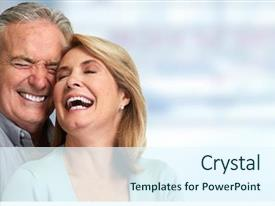 Beautiful slides featuring dental - senior couple smiling backdrop and a sky blue colored foreground