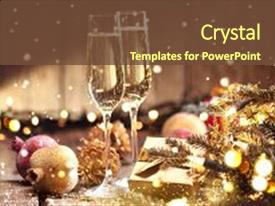 PPT layouts featuring congratulations - design - christmas and new background and a tawny brown colored foreground.