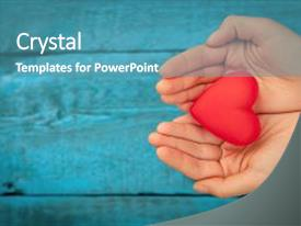 PPT layouts having design - valentine day red heart background and a teal colored foreground.