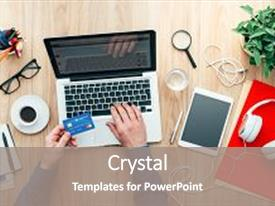 Amazing presentation design having money order - desk and purchasing products online backdrop and a gray colored foreground.