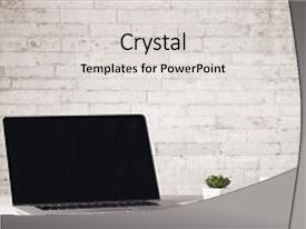 Audience pleasing presentation design consisting of design - desk with flower coffee book backdrop and a light gray colored foreground.