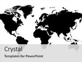 Audience pleasing presentation theme consisting of detailed world map backdrop and a light gray colored foreground.