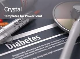 Amazing PPT layouts having endocrine - diabetes - medical concept backdrop and a gray colored foreground.