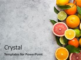 Presentation design consisting of food - different citrus fruit on grey background and a light gray colored foreground.
