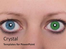 Cool new presentation design with different eye color contact lens backdrop and a  colored foreground.