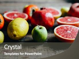 Presentation design with different fresh citrus fruit in background and a  colored foreground.