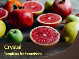 Colorful presentation design enhanced with different fresh citrus fruit in backdrop and a  colored foreground.