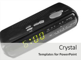 Presentation theme featuring digital alarm clock radio isolated background and a light gray colored foreground.