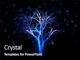 Slide deck featuring digital tree on technology background background and a navy blue colored foreground