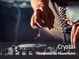 Beautiful slide deck featuring disc jockey at the turntable dj plays on the best famous cd players at nightclub during party edm party nightlife concept dj hands on the turntables backdrop and a dark gray colored foreground.