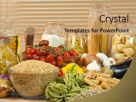 Cool new presentation design with display of healthy foods including backdrop and a coral colored foreground.