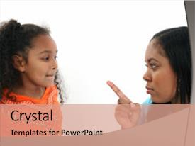 Cool new PPT theme with disrespect - angry mom fussing at five backdrop and a coral colored foreground.